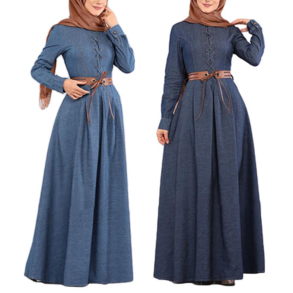 Islamic Robe Front Button Kaftan Women Abaya Long Maxi Dress Arab Jilbab Muslim