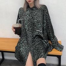 Rosetic Свободные Леопарда Рубашка Женщины Harajuku Ленивый Негабаритных Блузка С Длинным Рукавом Casual Осени 2020 Шикарный Принт Готические Рубашки