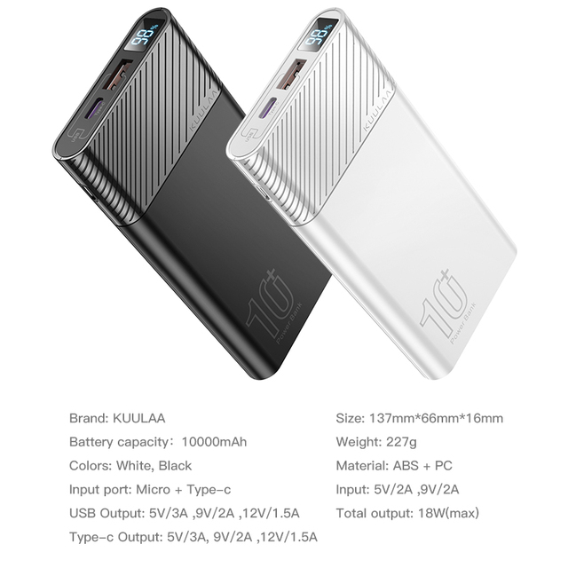 KUULAA Power Bank 10000mAh QC PD 3.0 PoverBank Fast Charging PowerBank 10000 mAh USB External Battery Charger For Xiaomi Mi 10 3