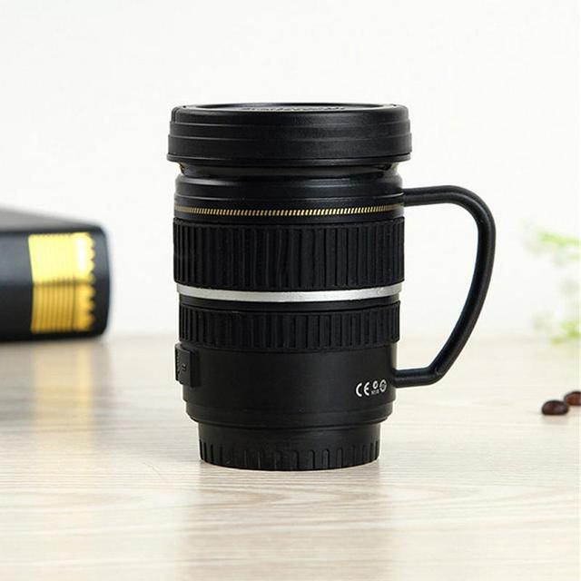 Creative Drinkware Cute Cup Stainless Steel Camera Lens Shaped Mugs Coffee Mugs Tea Cup Travel Vacuum Flasks With Lid Gift 1