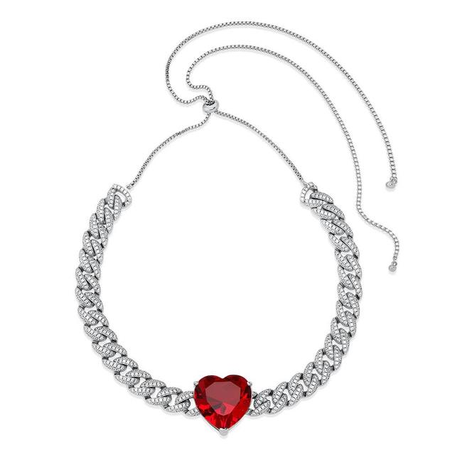 ALLICEONYOU New High Quality Iced Out Cubic Zirconia Love Heart Pendant&Necklace Hip Hop Fashion Jewelry For Women Gift