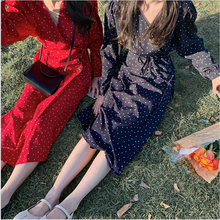 Colorfaith New 2020 Spring Summer Women Dresses Chiffon V-Neck Floral Dots Buttons Lace Up Bow Elegant Casual Dress Long DR1529