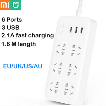Hot Original Xiaomi Mijia Power Strip Basic Version 6 Sockets with 3 5V 2.1A Fast Charging USB Ports White Mi Socket Solid Color