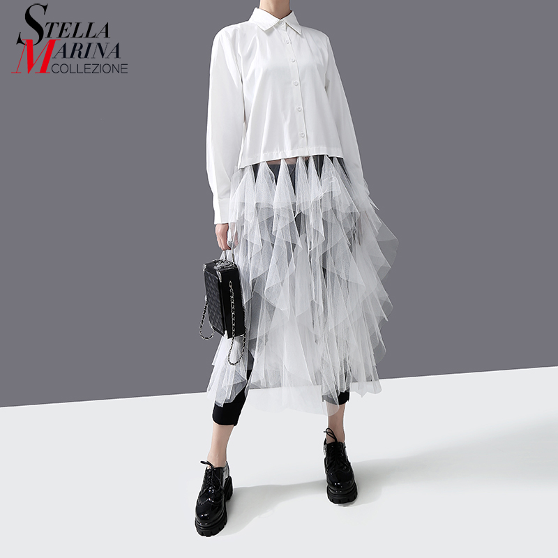 2020 Korean Style Women Spring Solid White Blouse & Mesh Fringes Long Sleeve Ladies Stylish Feminine Shirt Chemise Femme 5940