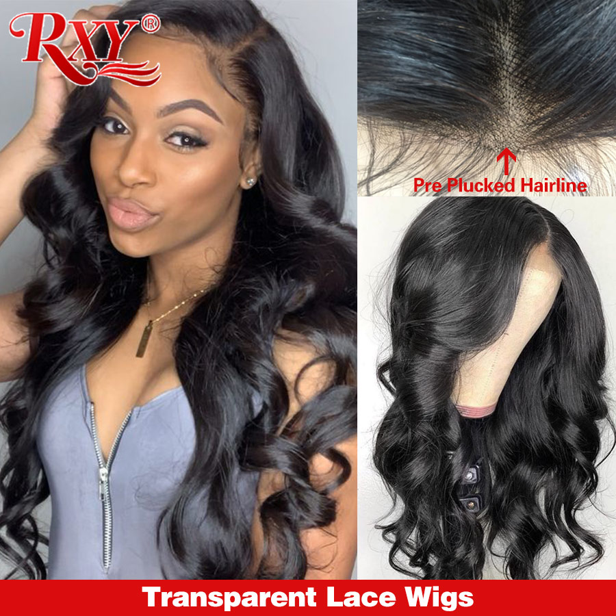 RXY Transparent Lace Wigs Body Wave Lace Front Human Hair Wigs For Women 360 Lace Frontal Wig M Remy Black 13x6 Lace Front Wig