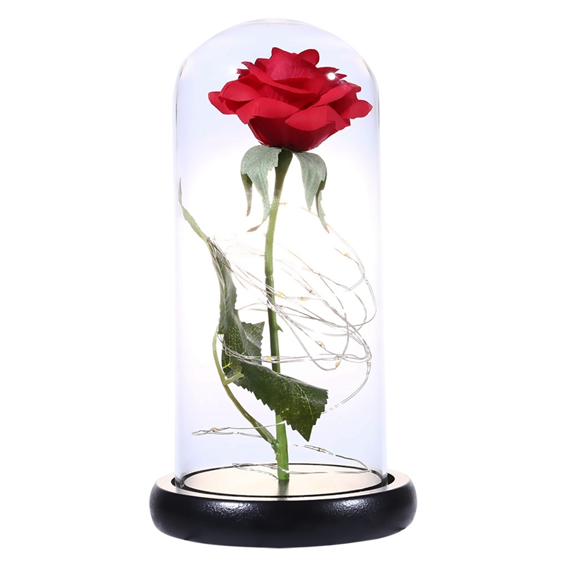 Beauty And Beast Eternal Flower Rose With Led Wedding Decoration Artificial Flowers In Glass Cover For Valentine'S Day Gifts