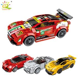 Image 5 - Huiqibao 707 個 4 レーシングカー速度チャンピオンズ diy ビルディングブロックテクニック市レーサーフィギュアスポーツカーレンガおもちゃ子供子供