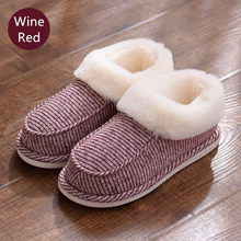 Plus Size Women Home Slippers Winter Warm Non-slip Indoor Shoes Plush Slides Unisex Furry House Slip On Fluffy Slippers(China)
