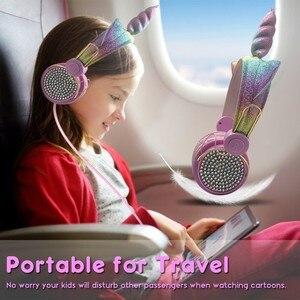 Image 5 - Mignon licorne filaire casque avec Microphone filles Daugther musique stéréo écouteur ordinateur téléphone Mobile Gamer casque enfants cadeau