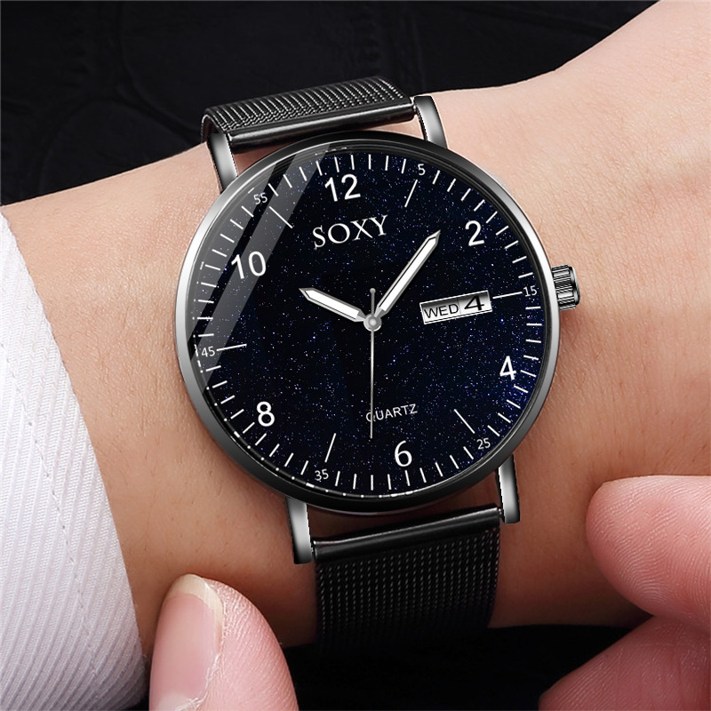 SOXY To Brand Luxury Men's Watch Quartz Steel Mesh Strap Date Luminous Star Sky Dial Clock Zegarek Meski Wristwatch 2019