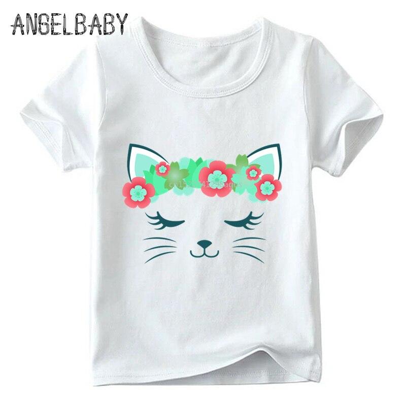 Children Cute Flower Cat Face Funny T shirt Summer Baby Boys/Girls Cartoon Tops Short Sleeve T-shirt Kids Clothes 2