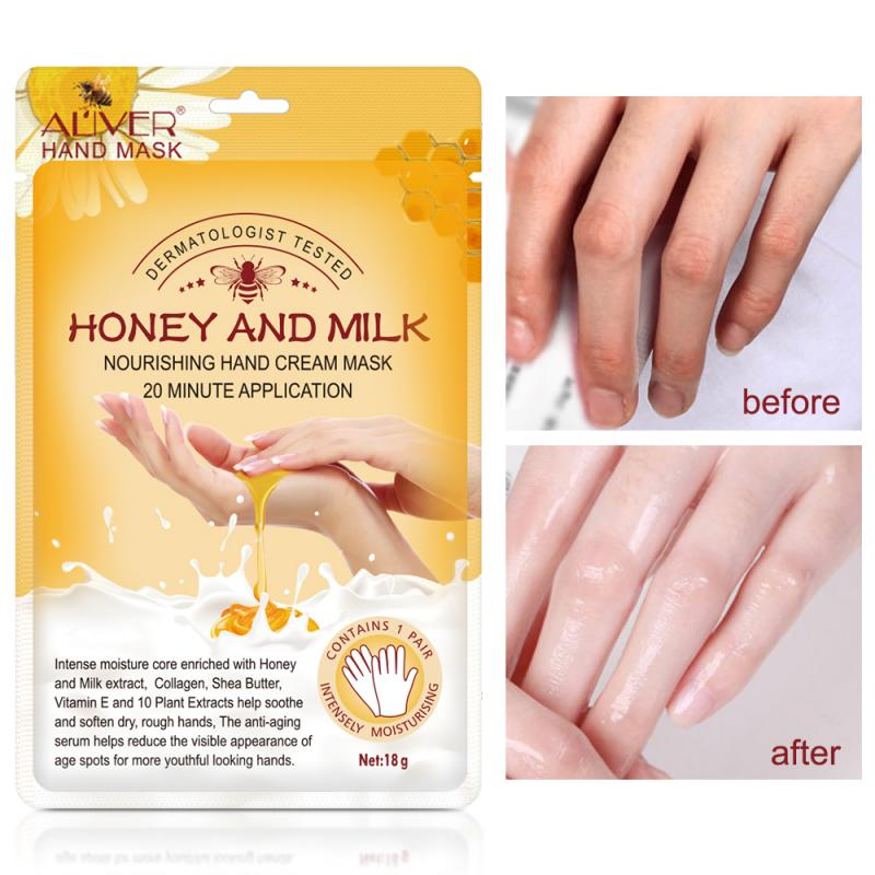 10pairs Honey Milk Hand Mask Moisturizing Soft Reduce Fine Lines Anti-drying Anti-aging Gloves Smooth Delicate Hand Care TSLM2