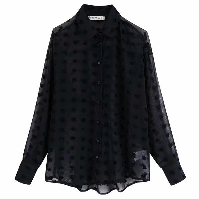 new women fashion dot stitching casual chiffon blouse shirt women long sleeve chic blusas perspective white chemise tops LS3725 3