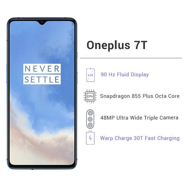 "OnePlus 7T 7 T 8GB 128GB Smartphone Snapdragon 855 Plus Octa Core 48MP Triple Camera 6.55"" AMOLED Screen NFC UFS 3.0"