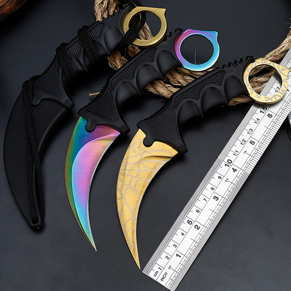 Karambit CS GO Knife Cosplay CSGO Tactical Outdoor Camp Hunting Knives Titanium Rainbow Color Butterfly Training EDC Hike Tool