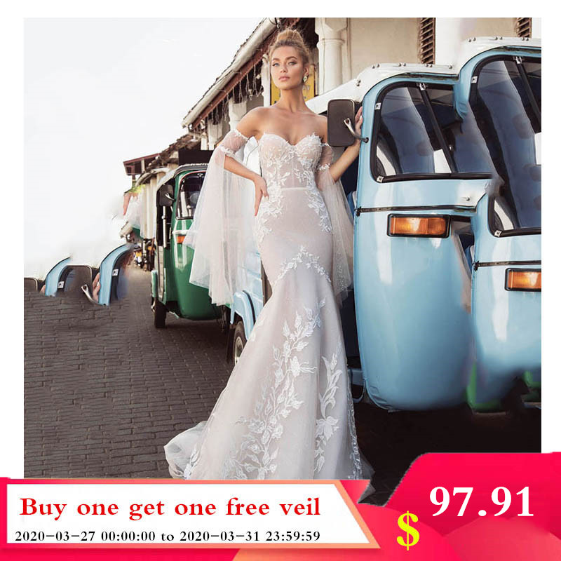 Smileven Mermaid Wedding Dress Strapless Lorie 2019 Lace Appliques Detachable Sleeves Boho Bridal Gowns Wedding Gowns