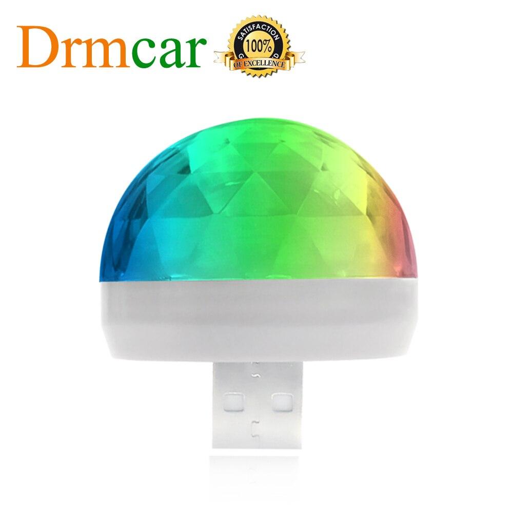 Voiture USB lumière ambiante DJ RGB Mini musique colorée lumière sonore Interface de USB-C Interface Apple fête de vacances karaoké