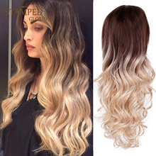Stamped Glorious 24inches Ombre Black Blonde Wig Water Wave Wig Long Wavy Synthetic Wigs for Women Middle Part Natural Hair long straight wavy curly short ombre blonde wig platinum blonde synthetic wigs for women natural middle part wig