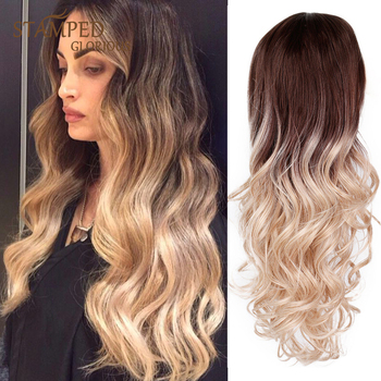 Stamped Glorious 24inches Ombre Black Blonde Wig Water Wave Wig Long Wavy Synthetic Wigs for Women Middle Part Natural Hair