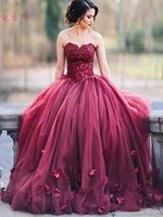 Wine Red Sweetheart Neck Evening Dresses Fashionable A Line Floor Length Long abendkleider Tulle Lace Appliques Sleeveless Gowns