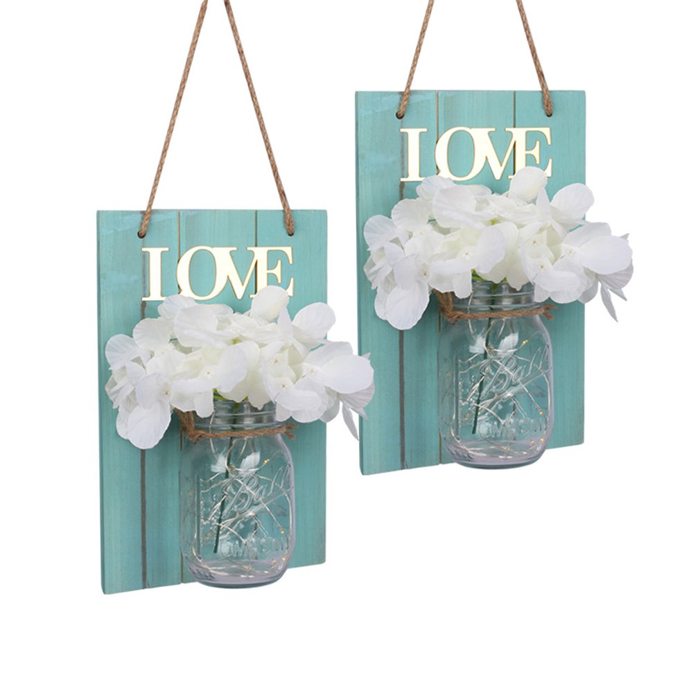 Creative Wooden Board Led Mason Jar Lantern Simulation Eternal Flower Wooden Wall Lamp Retro Garden Lantern 2Pcs