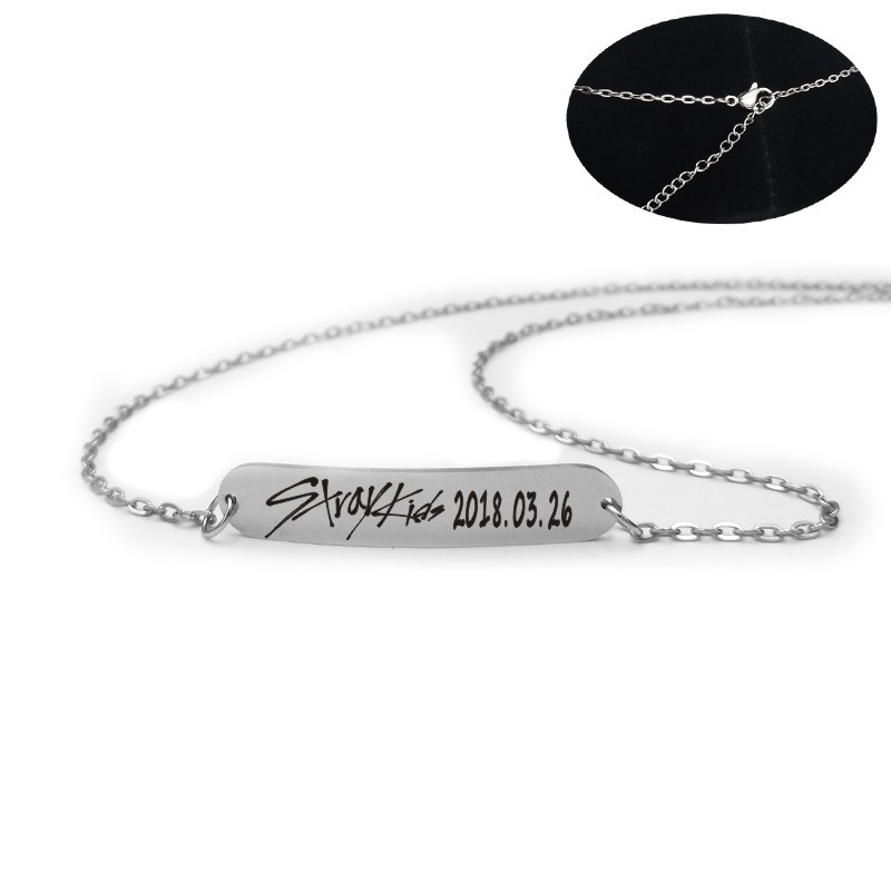 2019 New Kpop Stray Kids Name Birthday Steel Stainless Steel Strip Lettering Bracelet Necklace Simple Korean Style Fashion Kpop