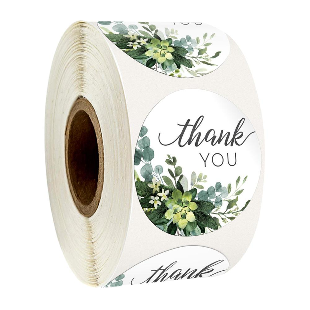 500 Pcs 1 Inch Round Flower Thank You Sticker Seal Labels Christmas Stickers Stickers Scrapbooking Stationery Sticker