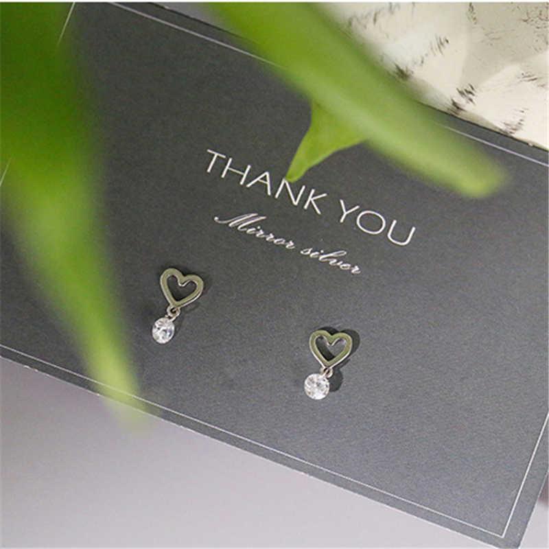 Warna Perak Kecil Yang Lucu Melubangi Hati Anting-Anting Anting-Anting Bersinar Zirkon Anting-Anting untuk Putri Gadis Wanita 925 Perhiasan Fashion