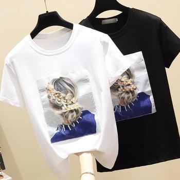 Harajuku o-cuello de algodón cordón camiseta collar Camisetas manga corta lazo lentejuelas gasa empalmado Tops de verano 2020