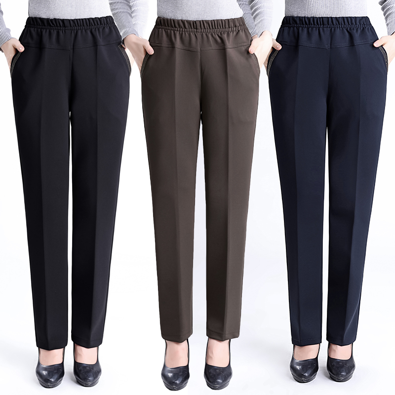 2019 Large Size 6XL Spring Autumn Middle Aged Women Pants Slim High Waist Casual Loose Straight Female Plus Size Trousers