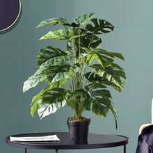 75cm 24 Gabel Tropical Monstera Großen Künstliche Palm Baum Zweig Kunststoff Gefälschte Leafs Falsche Schildkröte Blatt Für Home Garten room Decor