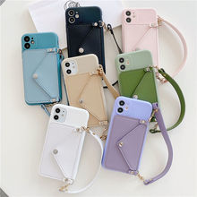 Silicone Lanyard Wallets Phone Case For iPhone 12 Card Strap Holder Shell
