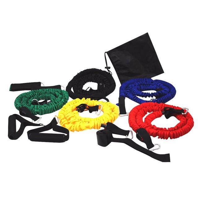 11 sztuk zestaw ulepszona edycja ciągnąć linę ćwiczenia Fitness taśmy oporowe rurki pedał trening ciała treningu jogi rajd do kresek tanie i dobre opinie ISHOWTIENDA Unisex Kompleksowe fitness ćwiczenia Wiosna w klatce piersiowej developer Pull rope resistance bands gym equipment
