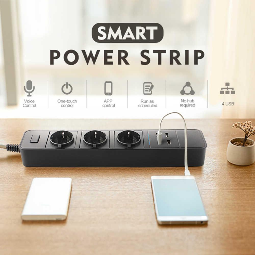Inteligentny Wifi listwa zasilająca listwa przeciwprzepięciowa wielu ue/wielkiej brytanii gniazdo zasilania z USB sterowanie głosowe dla Amazon Echo alexa Google domu