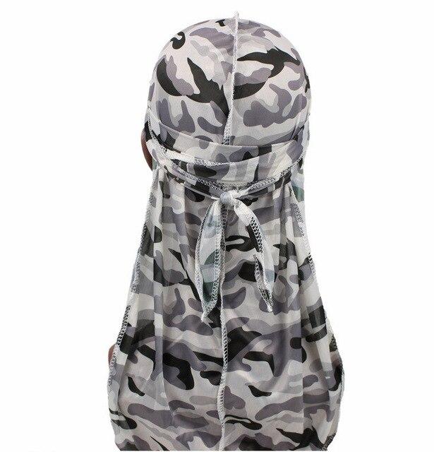 1PC Print Men's Silky Durags Turban Valentines Gift Headband Fashion Camo Free Size Headwear Elastic Comfortable Soft Adjustable 10