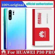 Orijinal arka konut değiştirme için HUAWEI P30 Pro arka kapak pil cam kamera Lens ile yapışkanlı etiket