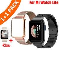 Paquete de 2 correas y funda de Metal para Xiaomi Mi Watch Lite, correas de reloj de acero para Xiaomi Watch Lite, funda protectora
