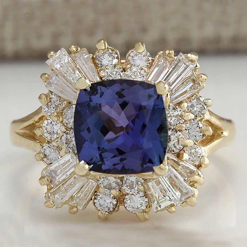 แฟชั่นสีฟ้าหินแหวนเครื่องประดับ Charm ผู้หญิง CZ งานแต่งงานแหวนสัญญาหมั้นแหวนสุภาพสตรีอุปกรณ์เสริมของขวัญ Z4K146