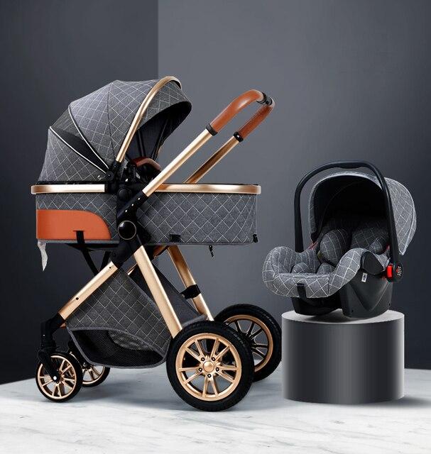 3 em 1 carrinho de bebê luxo alta paisagem carrinho de bebê portátil carrinho de bebê kinderwagen bebê berço dobrável carro novo 1