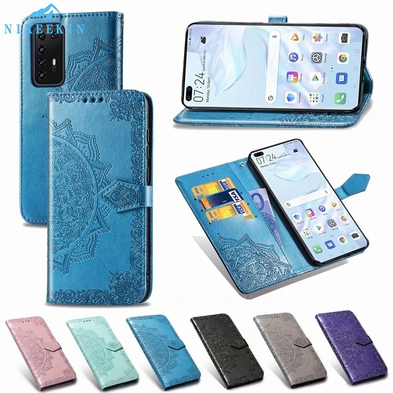 3D Mandala Flip Leather Case For Huawei P Smart 2020 P40 Lite E P30 Lite New Edition P20 Y5P Y6P Y7P Y8S Y6S Y9S Wallet PU Cover