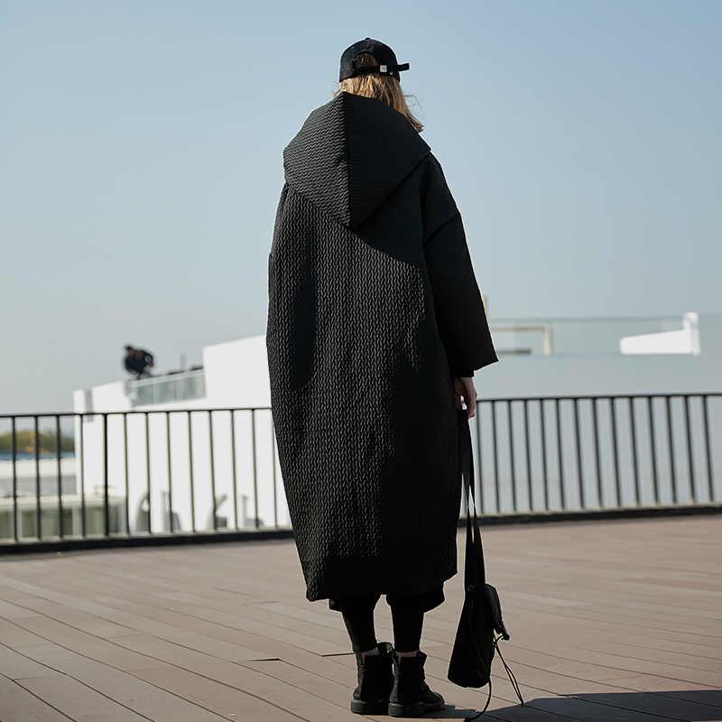 Aigyptos Mùa Đông Nữ Dày Ấm Áp Quá Khổ Trùm Đầu Xuống Áo Thiết Kế Ban Đầu Thường Ngày Cực Rời Đen X-Dài Nóc Áo Khoác áo Khoác