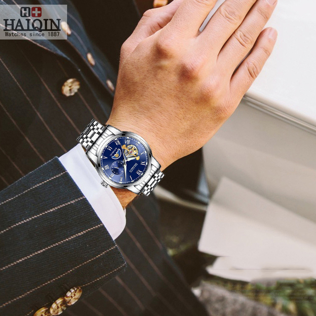 HAIQIN 8602 Gold Mechanical watches