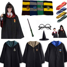 Cosplay Costume Potter Robe Cloak with Tie Scarf Wand Gryffindor Hufflepuff Ravenclaw Slytherin  Cos Clothes