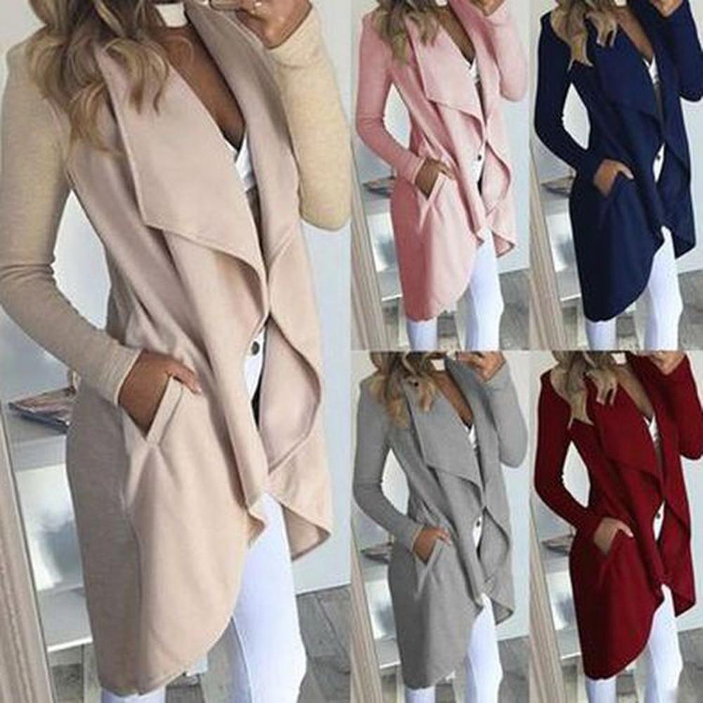 Casual White Elegant Women Trench Coat Plus Size Coats Autumn Winter Outerwear Office Ladies Long Overcoat Friendly Material