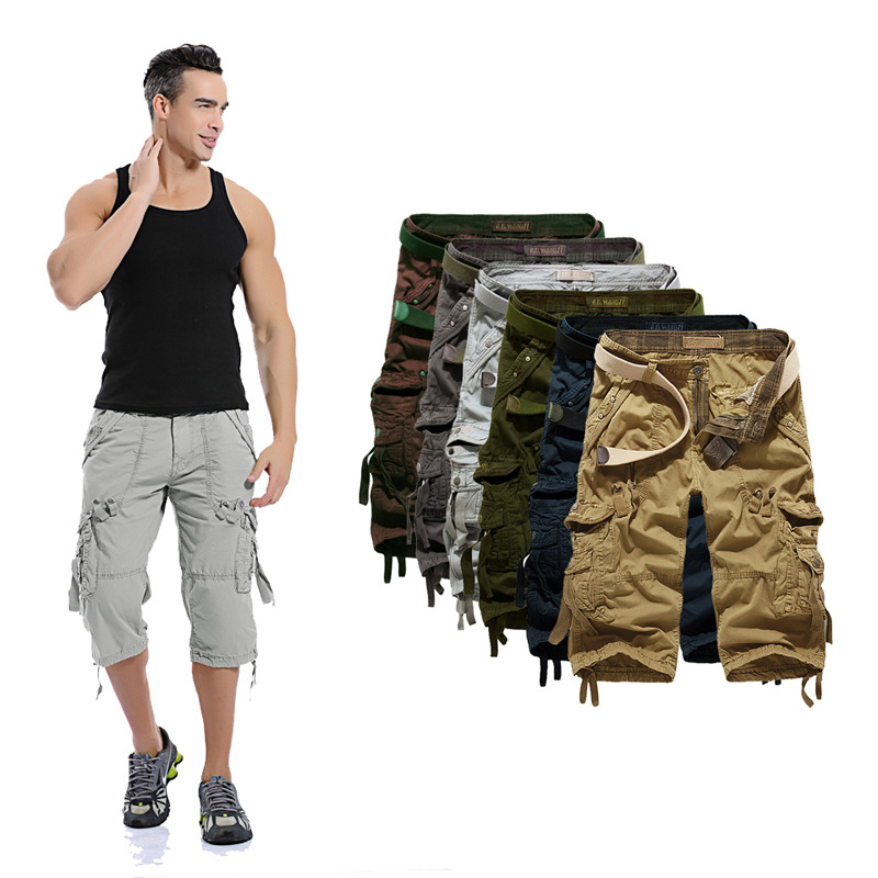 Hot Selling Men Fashion Loose Casual Workwear Shorts Large Size Multi-pockets Capri Pants 5820