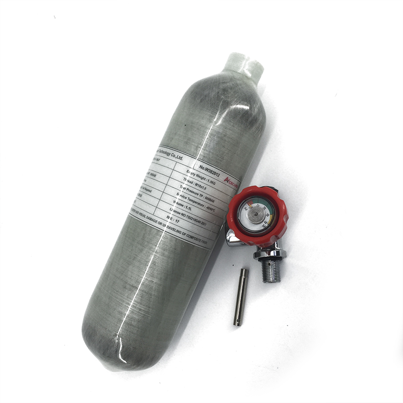 AC30119 Pcp Scuba Tank Carbon Fiber 1.1L 4500psi Grey Cylinder With Red Valve For Air Rifle/Compressed Underwater Gun Acecare