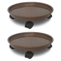Indoor Flower Pot Dolly Round Flower Pot Mover Rolling Plant Tray Caddie with Wheels  Brown 2 Packs|Pot Trays| |  -