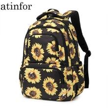 atinfor Brand Sunflower Printing Women Backpack Girls Reflective Strip School Backpacks Laptop Backpacks College Floral Bookbag