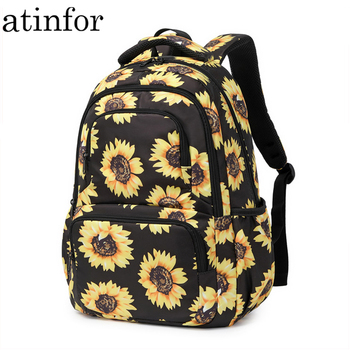 atinfor Brand Sunflower Printing Women Backpack Girls Reflective Strip School Backpacks Laptop College Floral Bookbag - discount item  35% OFF School Bags