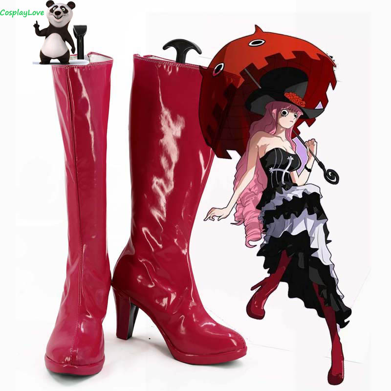 One Piece Two Years Later Perona Red Shoes Cosplay Long Boots Leather Custom Made For Party Christmas Halloween
